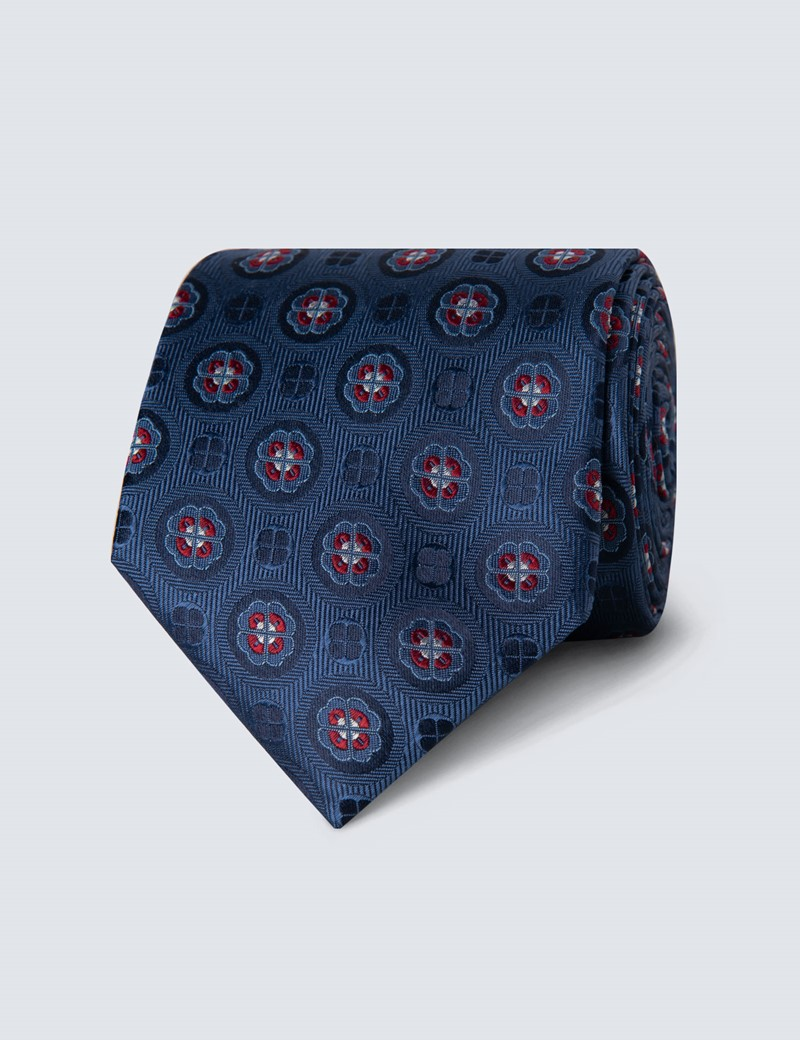 Men's Blue & Red Geometric Tie - 100% Silk