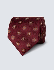 Men's Wine & Orange Geometric Tie - 100% Silk