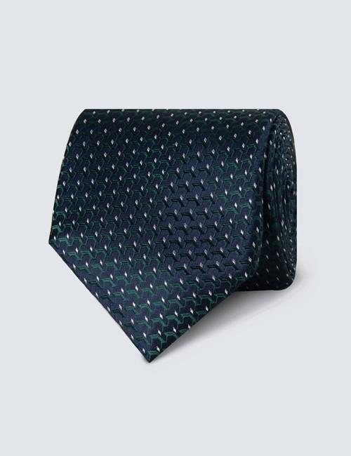 Krawatte – Seide – Standardbreite – navy-grün Webmuster