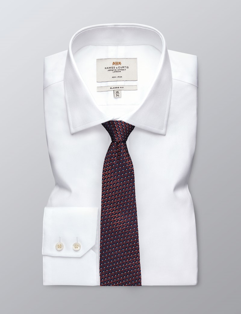 Men's Navy & Orange Woven Links Tie - 100% Silk