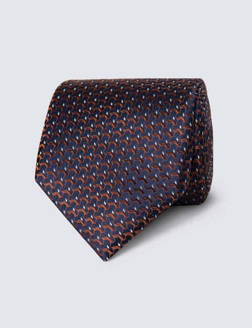 Men's Navy & Orange Woven Links Tie - 100% Silk