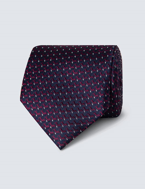 Men's Navy & Pink Woven Links Tie - 100% Silk