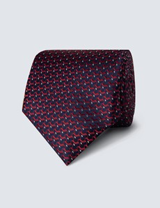 Men's Navy & Red Woven Links Tie - 100% Silk
