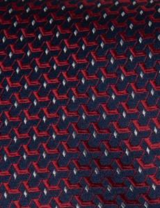 Krawatte – Seide – Standardbreite – blau-rot Webmuster