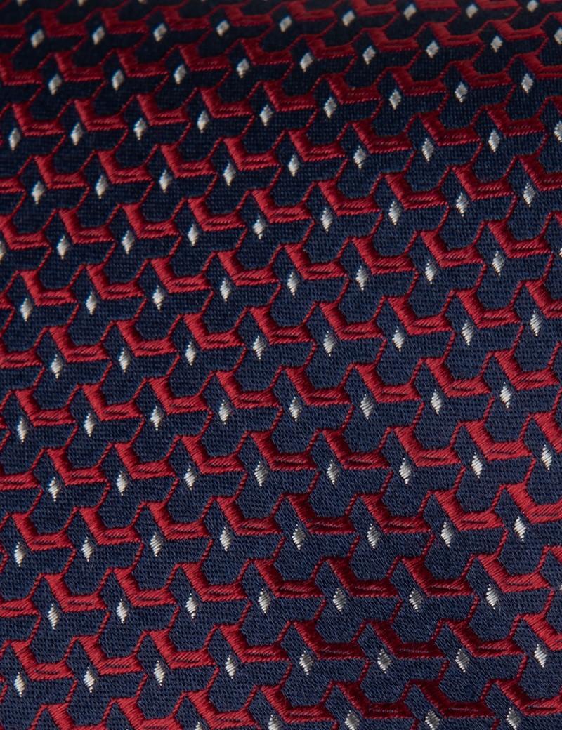 Men's Navy & Red Woven Links Tie - 100% Silk