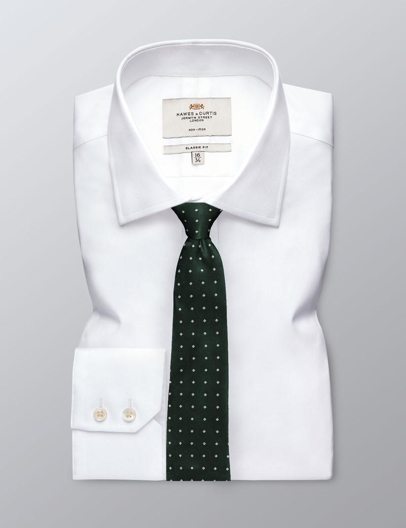 Men's Green Square Dots Tie - 100% Silk
