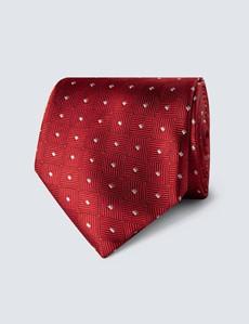 Krawatte – Seide – Standardbreite – Schachtupfen weinrot