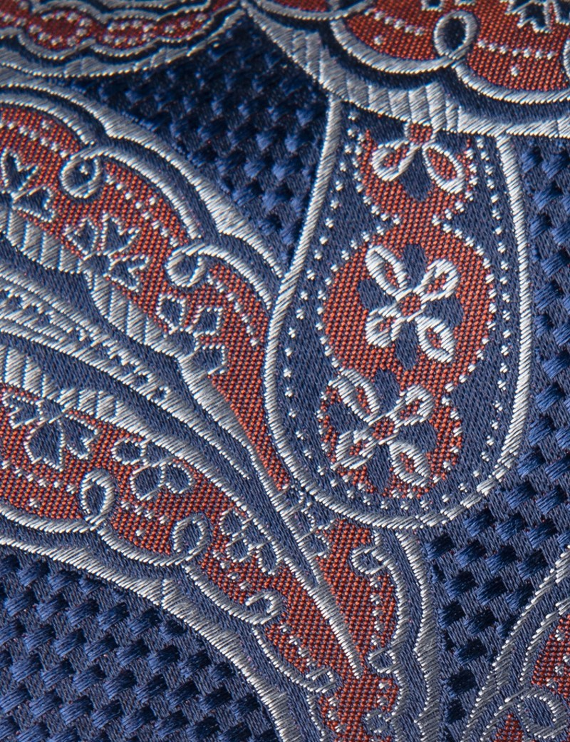 Men's Blue & Orange Textured Paisley Tie - 100% Silk