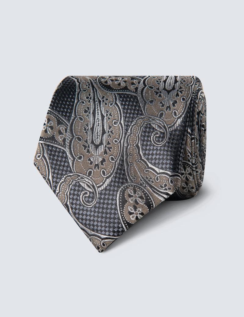 Krawatte – Seide – Standardbreite – Paisley grau & braun