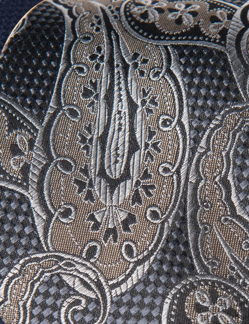 Men's Grey & Brown Textured Paisley Tie - 100% Silk