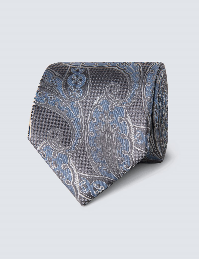 Men's Grey & Light Blue Textured Paisley Tie - 100% Silk
