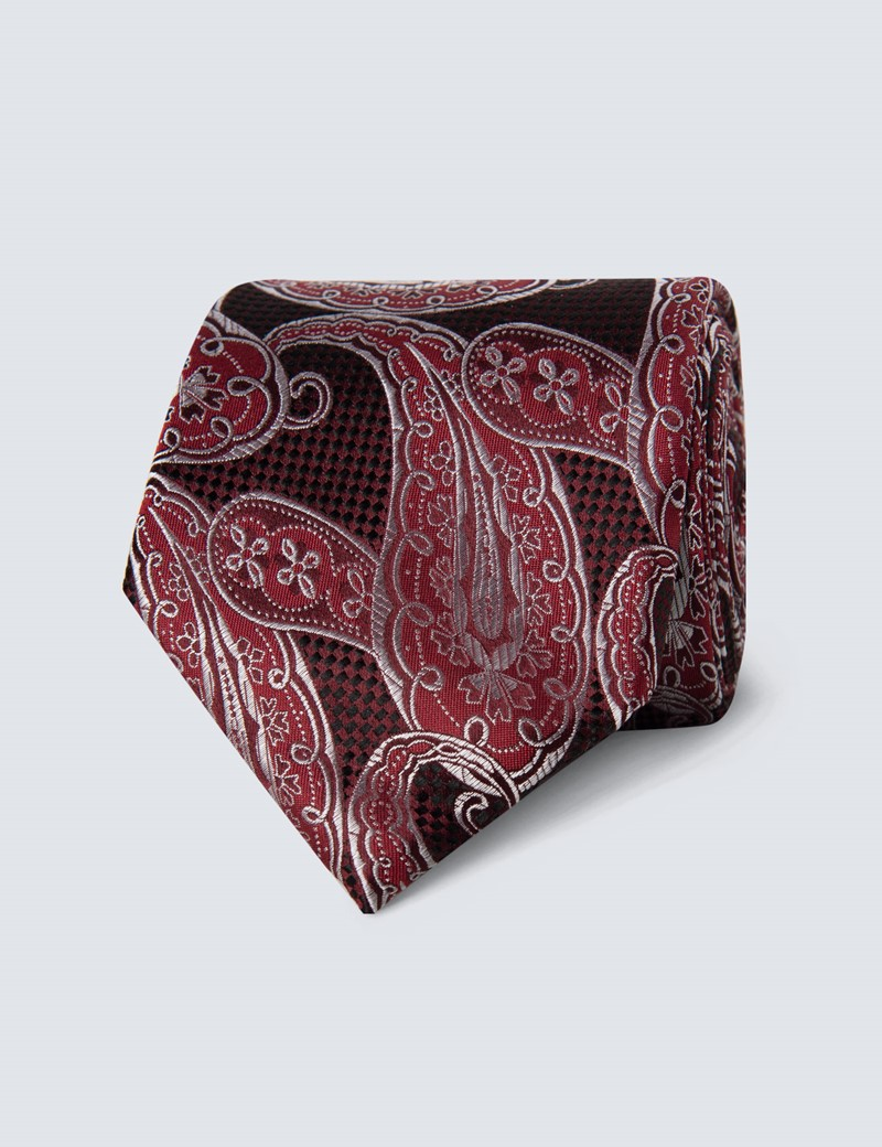 Men's Wine & Red Textured Paisley Tie - 100% Silk