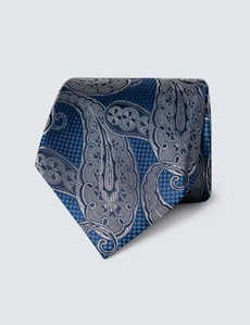 Men's Royal Blue & Grey Textured Paisley Tie - 100% Silk