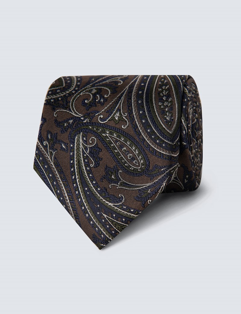 Men's Brown & Green Floral Paisley Tie - 100% Silk