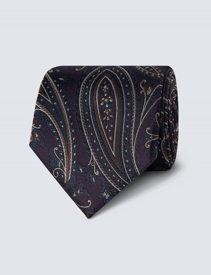 Men's Purple & Navy Floral Paisley  Tie - 100% Silk