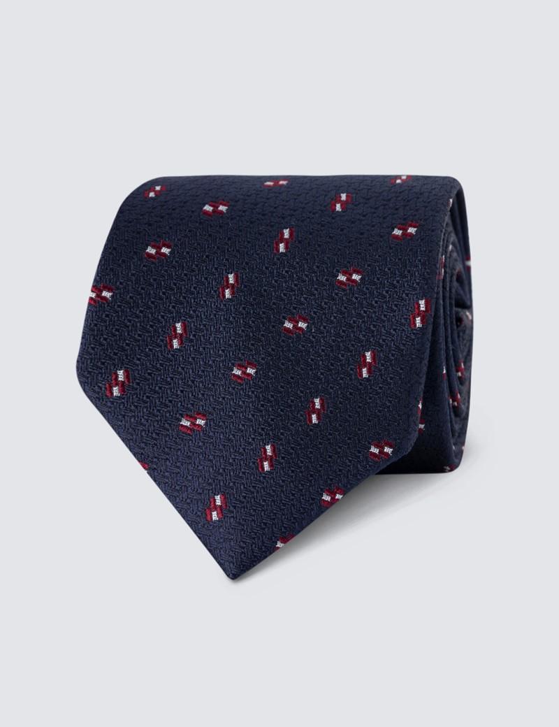 Men's Navy Contrast Print Tie - 100% Silk