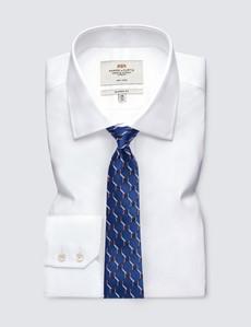 Men's Blue & Orange Geometric Square Print Tie - 100% Silk