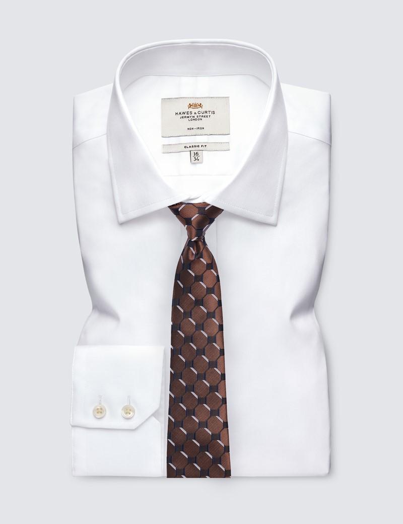 Men's Brown Geometric Square Print Tie - 100% Silk