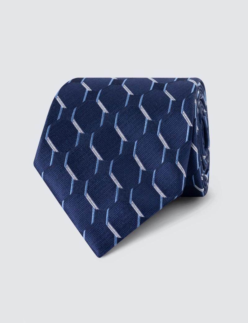 Men's Navy & Light Blue Geometric Square Print Tie - 100% Silk
