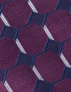 Men's Fuchsia Geometric Square Print Tie - 100% Silk