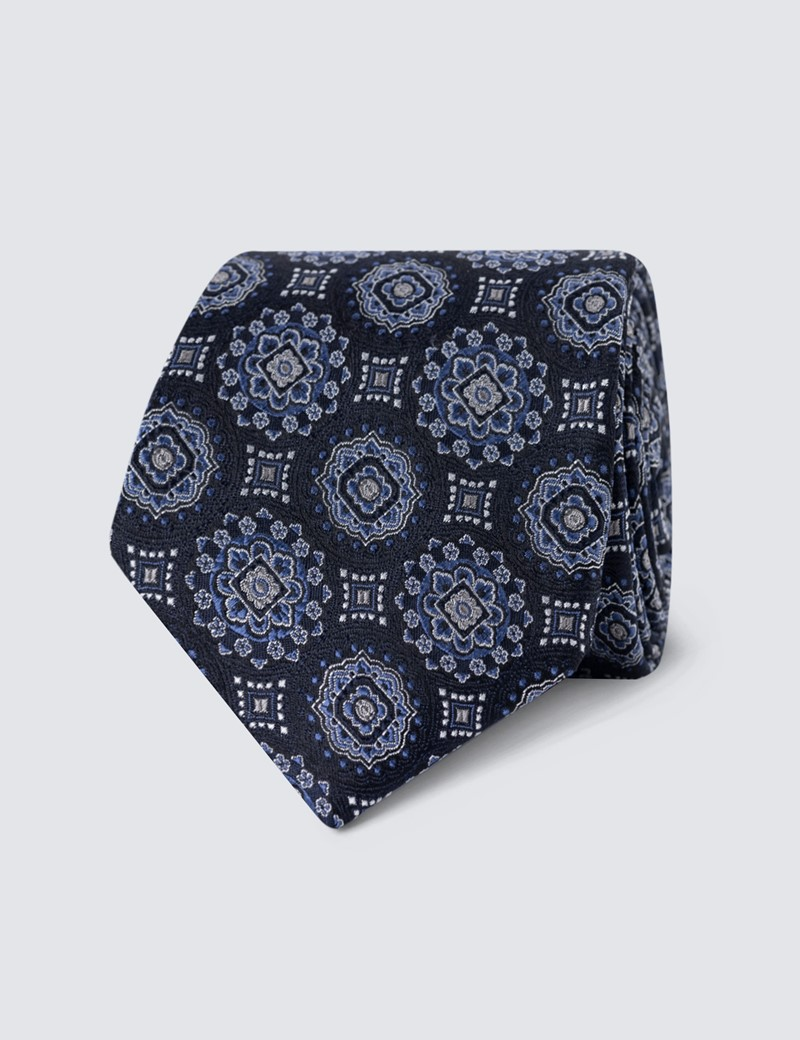 Men's Navy Bold Medallion Print Tie - 100% Silk