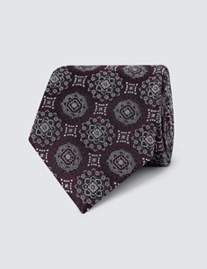 Men's Wine Bold Medallion Print Tie - 100% Silk
