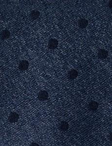 Men's Blue Spot Tie - 78% Silk & 22% Wool