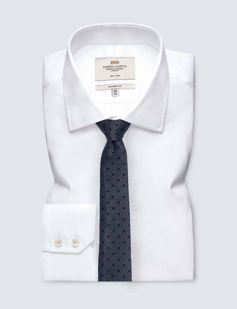 Men's Grey Spot Tie - 78% Silk & 22% Wool
