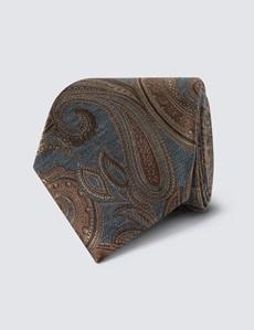 Men's Grey & Brown Paisley Tie - 70% Silk & 30% Wool