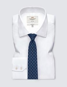 Men's Navy Teardrop Print Tie - 100% Wool