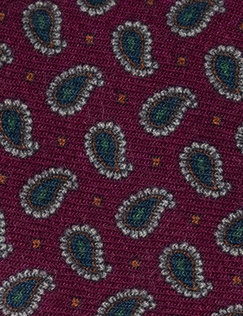 Men's Burgundy Teardrop Print Tie - 100% Wool