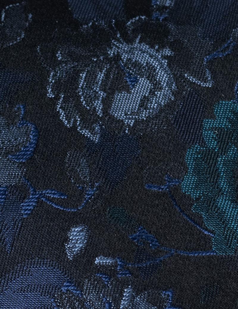 Men's Navy & Green Floral Print Tie - 100% Silk