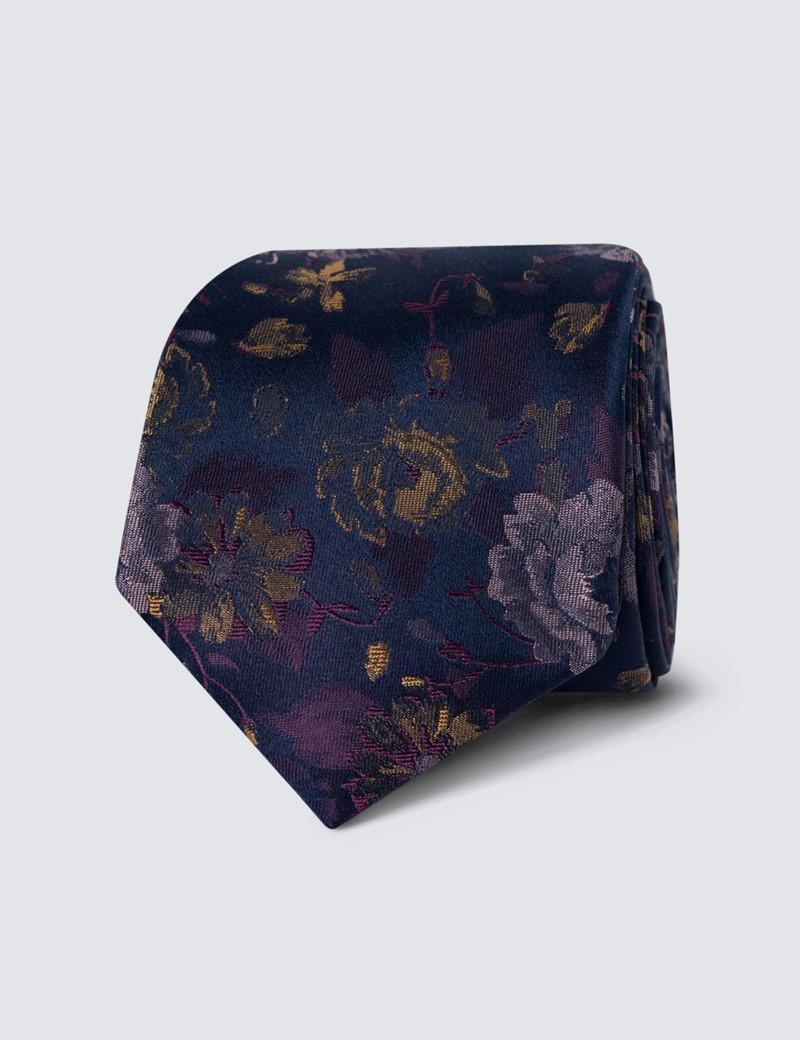 Men's Purple & Pink Floral Print Tie - 100% Silk