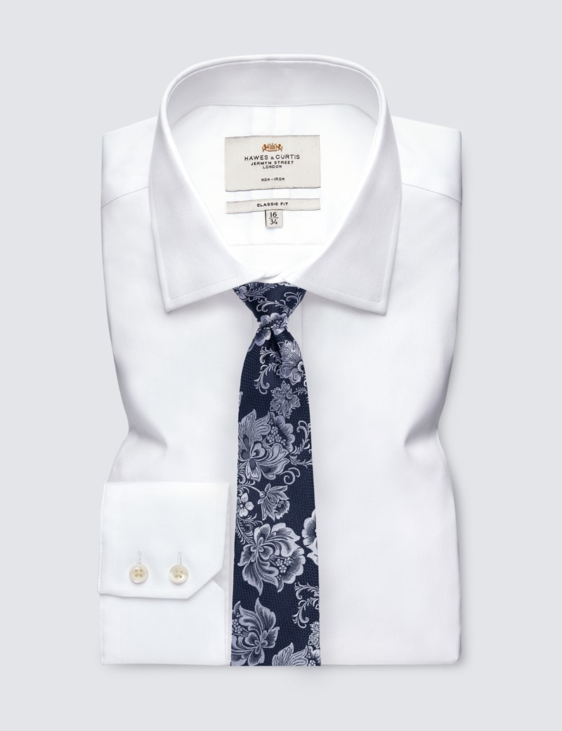 Men's Navy & White Floral Tie - 100% Silk