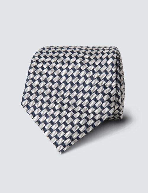 Men's Navy & White Blocks Tie -100% Silk