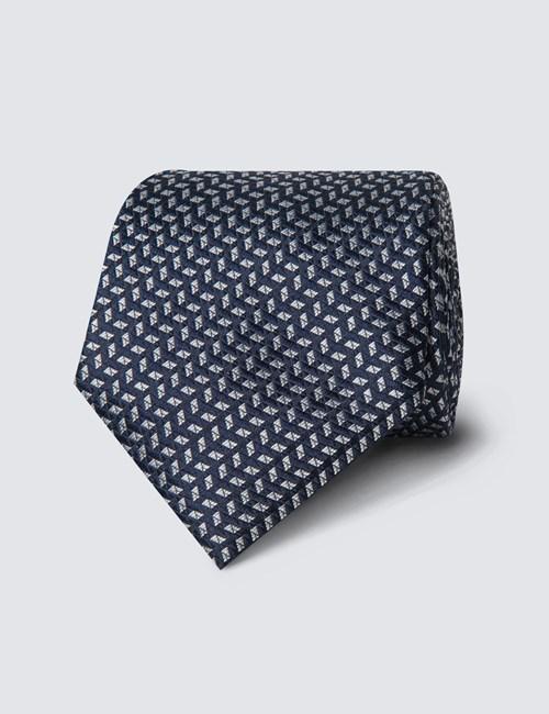Krawatte – Seide – Standardbreite – Fließenmuster blau & weiß