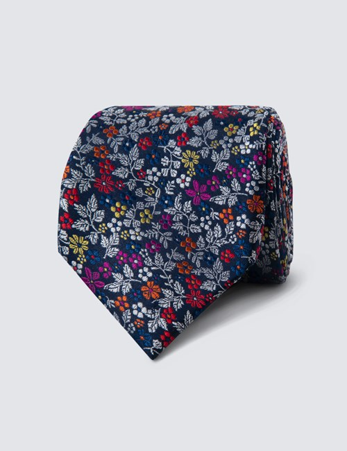 Men's Navy & Red Floral Print Tie - 100% Silk