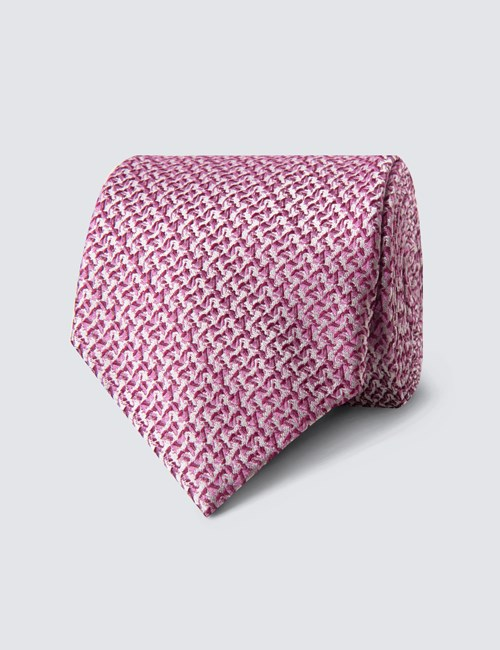 Men's Pink Semi plain Print Tie - 100% Silk