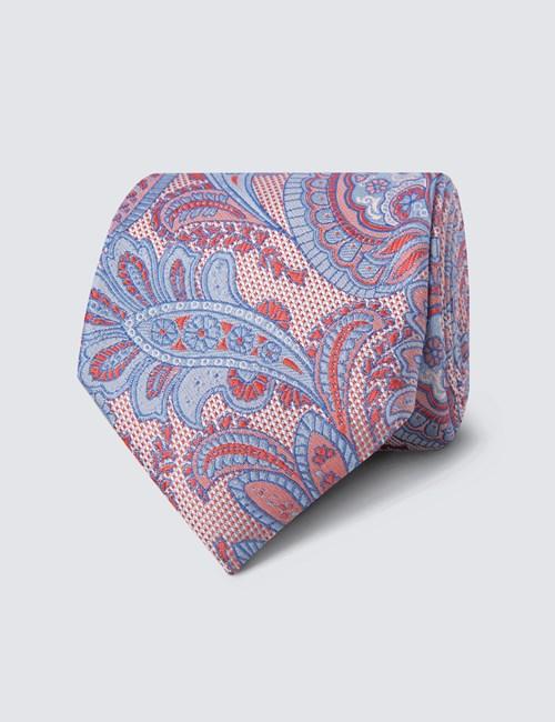 Men's Pink & Blue Bold Paisley Print Tie - 100% Silk
