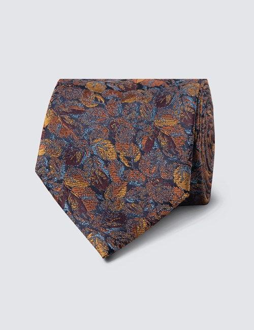 Men's Brown & Yellow Two Tone Floral Tie - 100% Silk