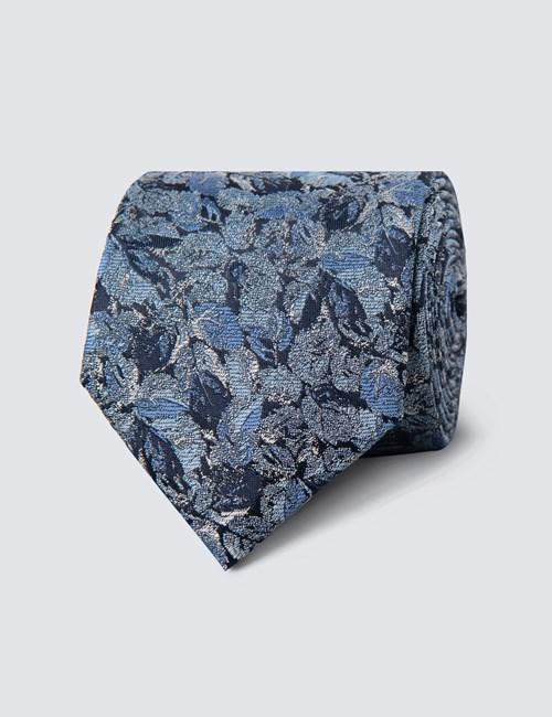 Krawatte – Seide – Schmal – Blau mit Blumen