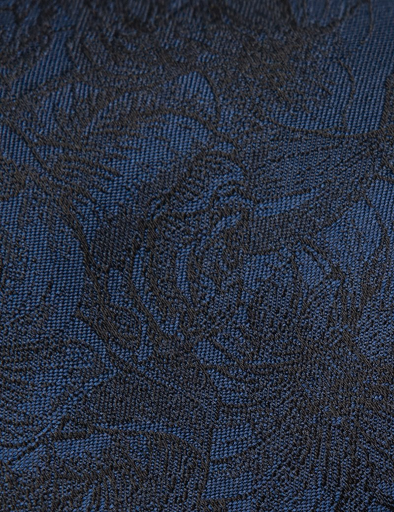 Men's Dark Blue Tonal Floral Tie - 100% Silk
