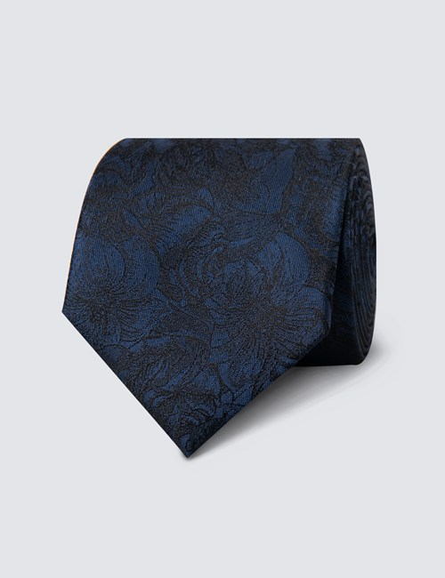 Men's Dark Blue Tonal Floral Tie - 100% Silk