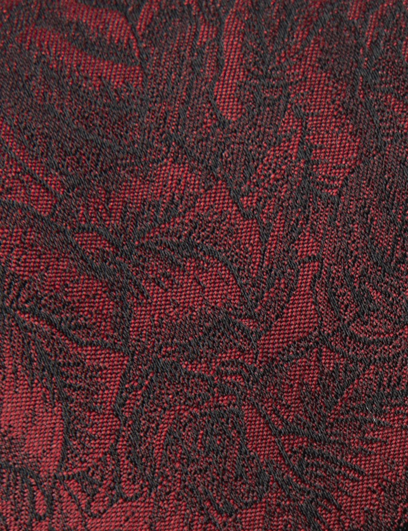 Men's Dark Red Tonal Floral Tie - 100% Silk