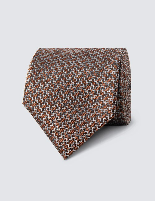 Men's Brown & White Zigzag Tie - 100% Silk