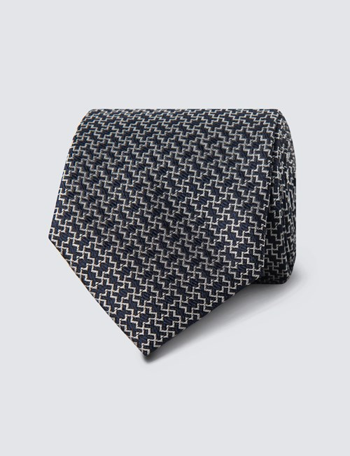 Men's Navy & White Zigzag Tie - 100% Silk
