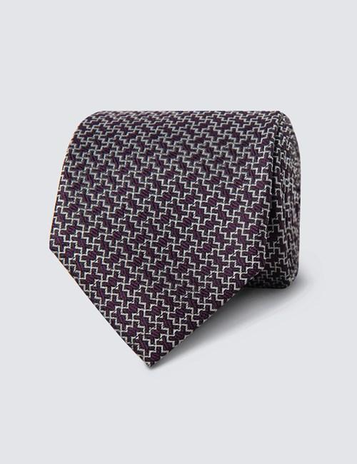 Krawatte – Seide – Schmal – Lila & Weiß Zickzack