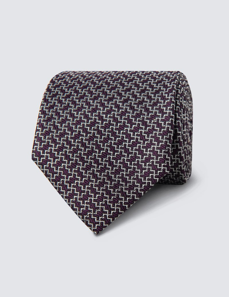 Men's Purple & White Zigzag Tie - 100% Silk