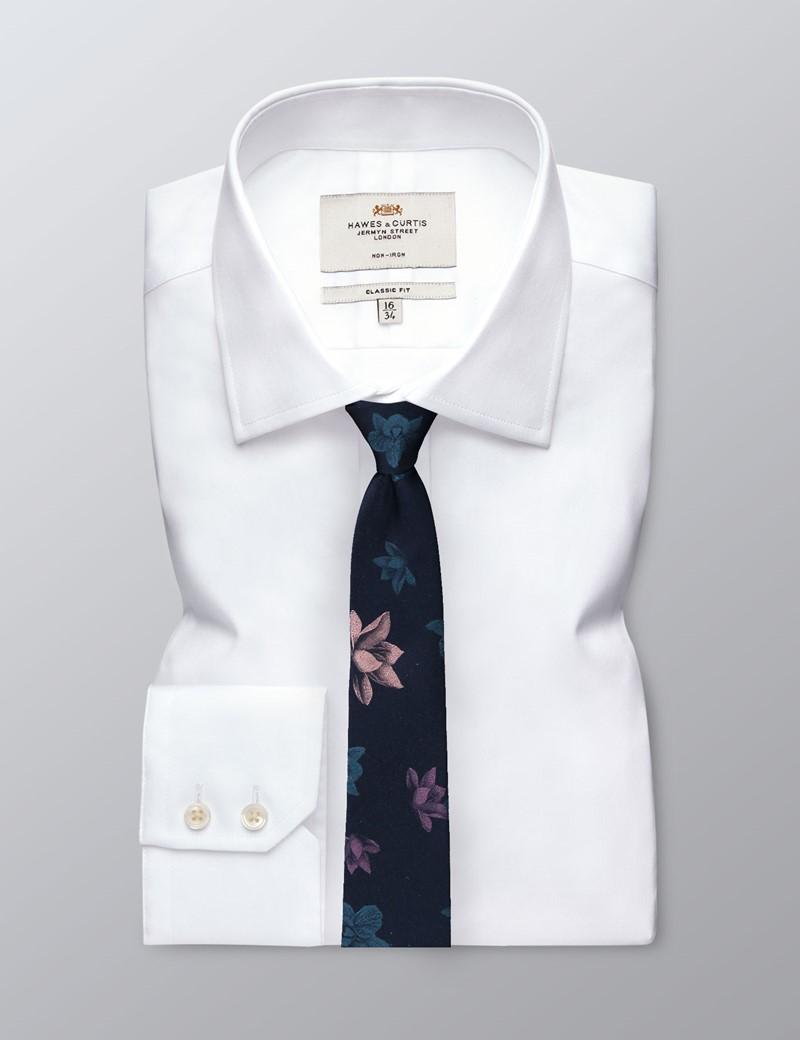 Men's Navy & Green Floral Tie - 100% Silk