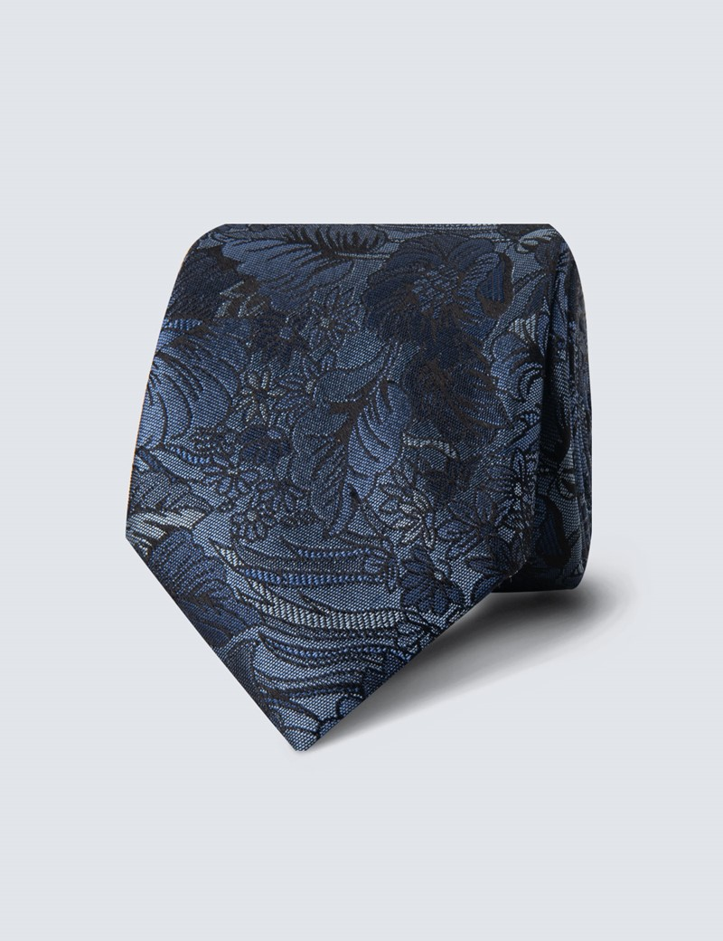 Men's Blue Tonal Floral Tie - 100% Silk